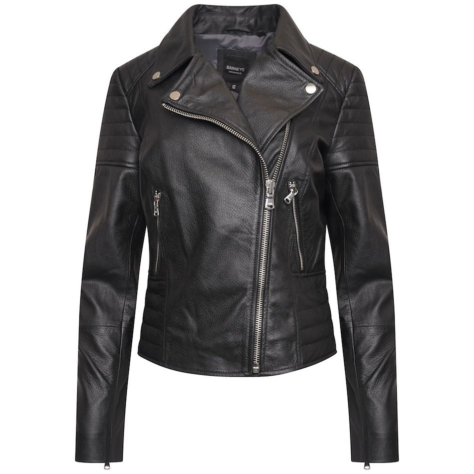This image shows a Barneys Originals Real Leather Women's Asymmetric Biker Jacket with Shoulder and Waist Detailing.