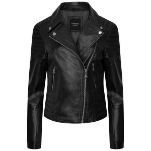 WOmen's real leather biker jacket with ribbed detailing by Barneys Originals shot on an invisible mannequin from the front.