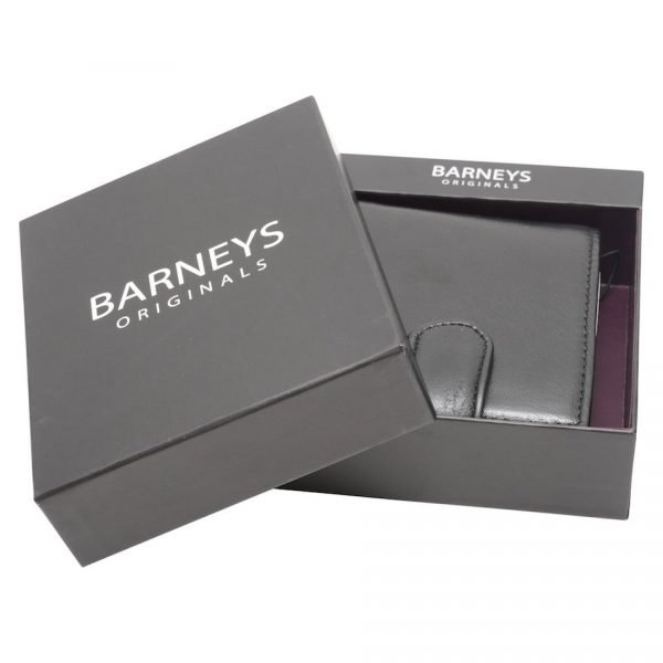 This image shows a real leather Barneys Originals black wallet. The wallet has a pop stud clasp. In this image the wallet is boxed.