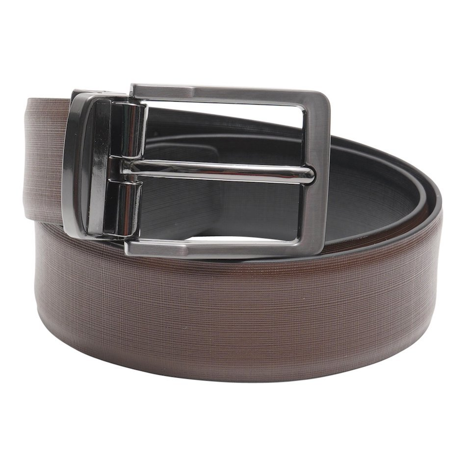 This image shows a brown reversible Barneys Originals belt. The belt has a silver buckle. On the reverse side the belt is black.