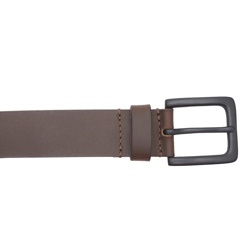 This image shows a brown real leather Barneys Originals belt. It has a black metallic buckle.
