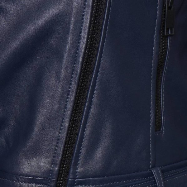Women's Real Leather Biker Jacket in Blue. This image focuses on the black zip of the jacket.