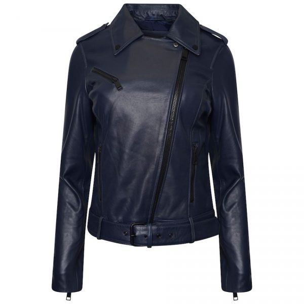 Women's Real Leather Biker Jacket in Blue. This image shows the jacket zipped to the top.