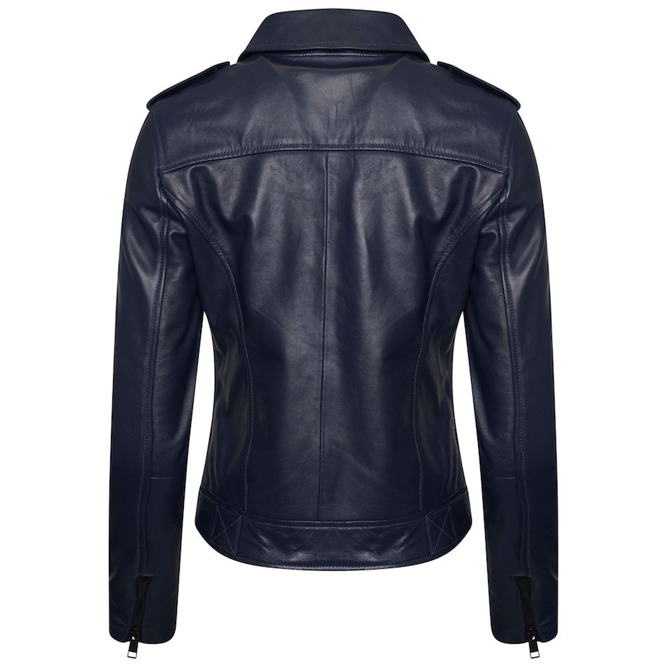 Women's Real Leather Biker Jacket in Blue. This image focuses on the back of the jacket.