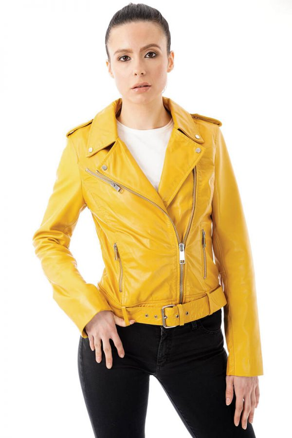 In this image the model is wearing our SHR_255 jacket in yellow. It is a gorgeous real leather yellow biker jacket with waist belt and she is wearing a size 8. She has the jacket zipped halfway up to expose the distinct asymmetric lapels.