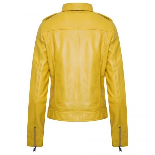 This jacket shows a Barneys Originals Women's Real Leather Yellow Biker Jacket with Waist Belt. This image shows the back of the jacket.