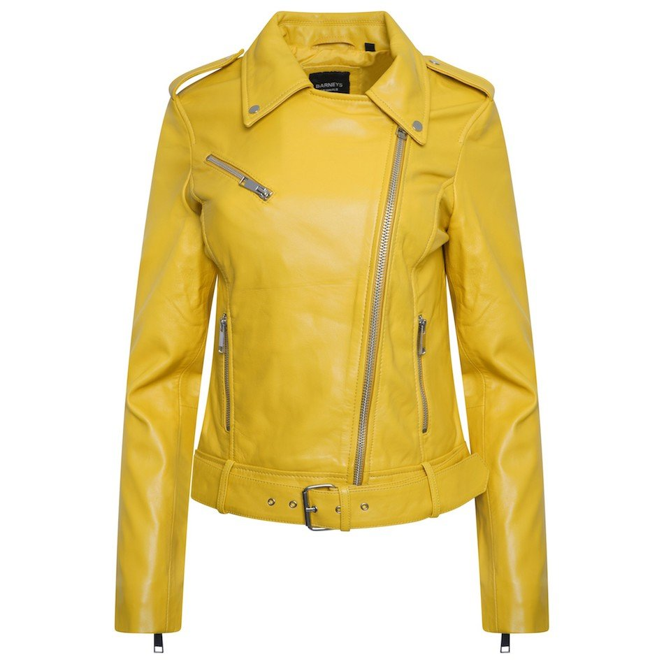 This jacket shows a Barneys Originals Women's Real Leather Yellow Biker Jacket with Waist Belt. This image shows the jacket zipped to the top.