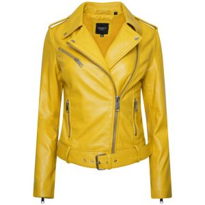 This jacket shows a Barneys Originals Women's Real Leather Yellow Biker Jacket with Waist Belt.