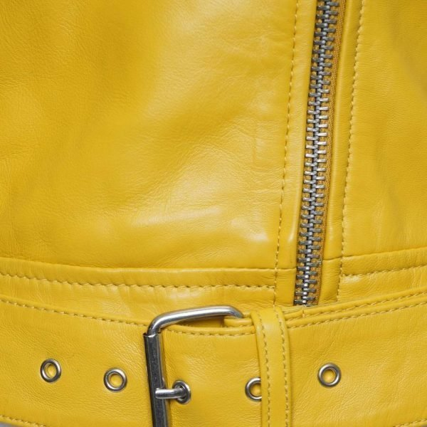 This jacket shows a Barneys Originals Women's Real Leather Yellow Biker Jacket with Waist Belt. This image shows the waist belt on the jacket.