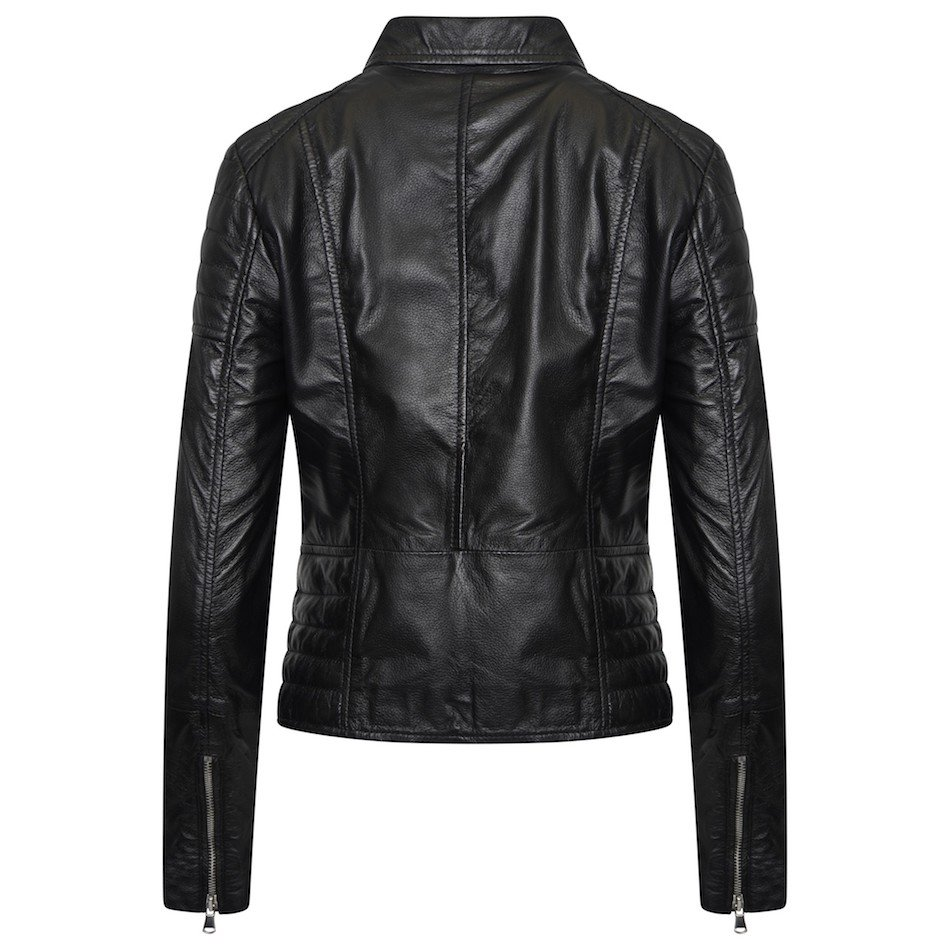 This image shows a Barneys Originals real leather, black, women's, asymmetric jacket with ribbed panelling. This image focuses on the back of the jacket.