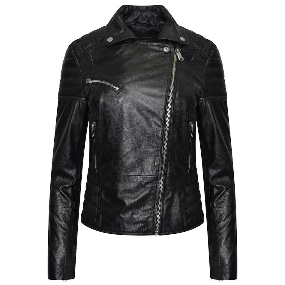 This image shows a Barneys Originals real leather, black, women's, asymmetric jacket with ribbed panelling. In this image, the jacket is zipped to the top.