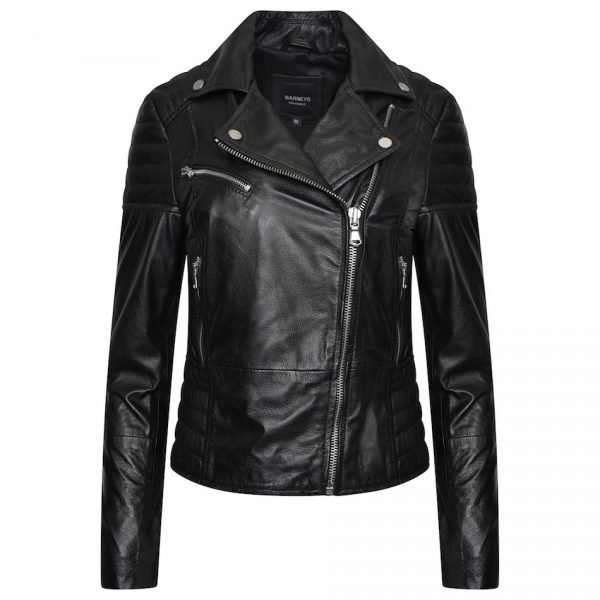 This image shows a Barneys Originals real leather, black, women's, asymmetric jacket with ribbed panelling.