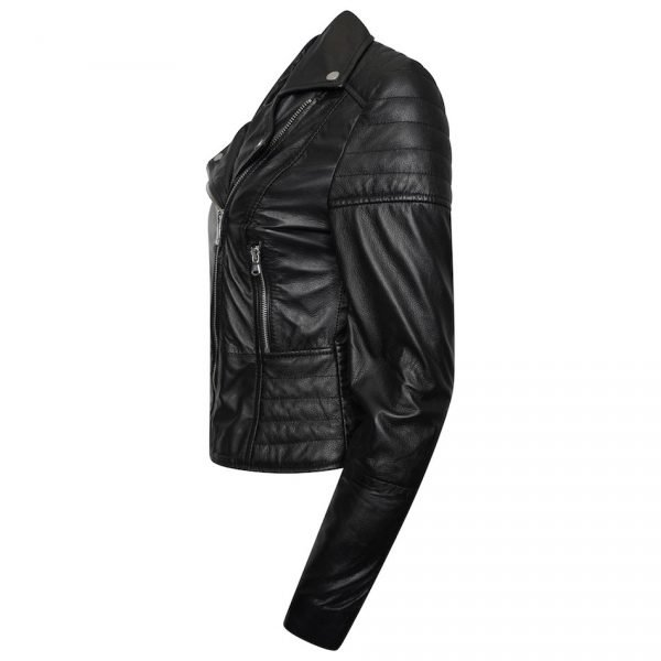 This image shows a Barneys Originals real leather, black, women's, asymmetric jacket with ribbed panelling. This image focuses on the side of the jacket.