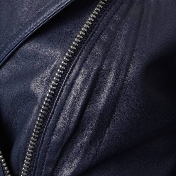 This is another image that displays a closer look at the silver zips on this leather jacket.