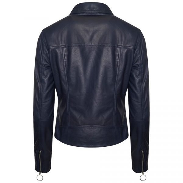 This back image of the jacket gives you a look at the finer details of the jacket. It is fully blue on the back, and you can see on the underside of the sleeve there are zips on the cuffs too.