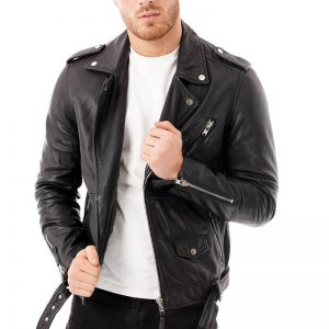 This image shows a men's Barneys Originals leather jacket being worn by our model. In this image the model is wearing the jacket unzipped.