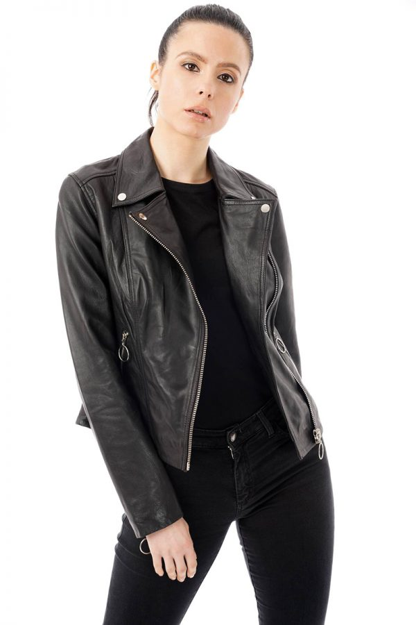 Image displays the hooped zip real leather biker jacket from Barneys Originals. A size 8 model wears a size 8 jacket. She wears the jacket open and unzipped. The jacket ends at her waist.