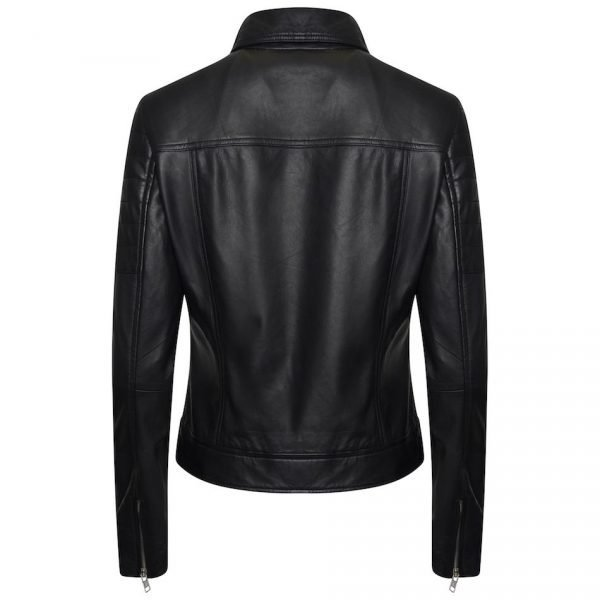 Image displays the back of the leather jacket which exposes the silver zips on the underside of each sleeve.