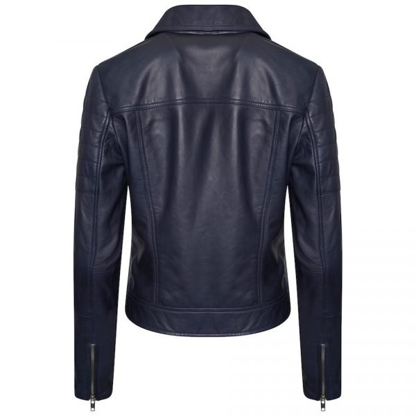 The image displays the back of the jacket to give you a look at the jacket from all angles. This shot also displays the sleeves from the back and you can see the silver zips on the cuffs.