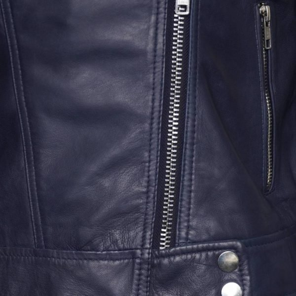 This is another close up image of the jacket, which gives you a close look at the silver pop studs and silver zips.