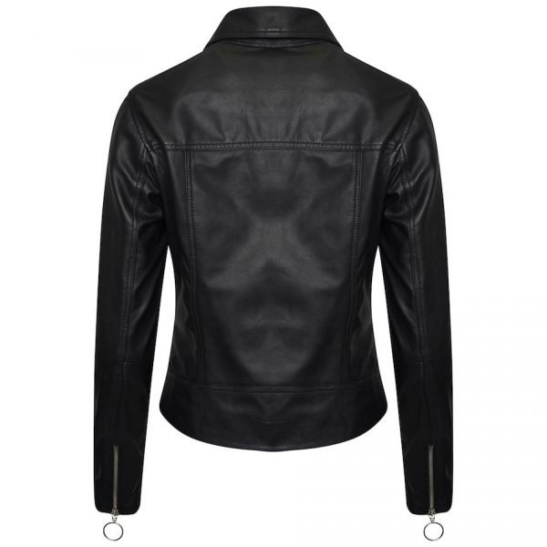 Image displays the back of the leather jacket. It features zips on the back of the sleeves.