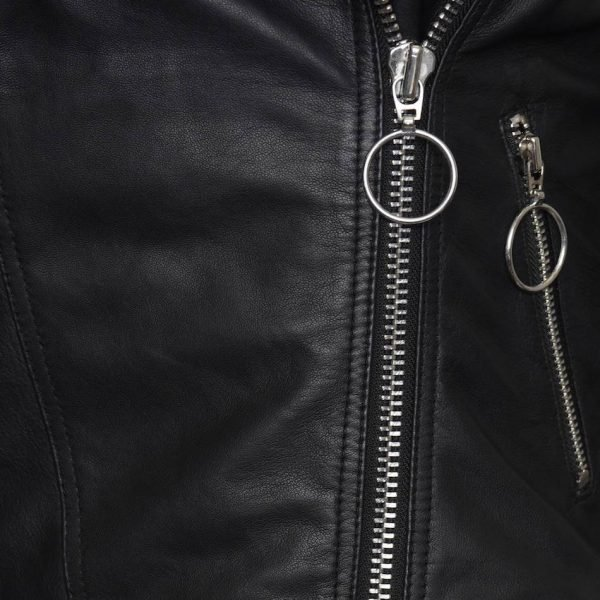 This image displays a cross section close up of the BARNEYS ORIGINALS leather jacket. The focus is on the hooped silver zip trimming.