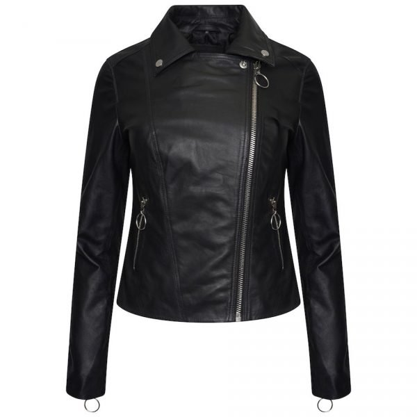 Image displays the leather jacket in full with the zip fully pulled up. This image shows off the item's asymmetric design.