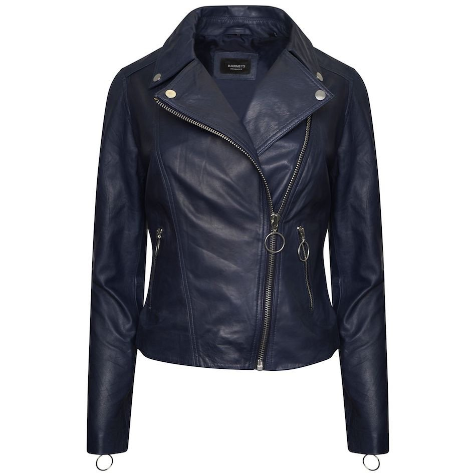 This image displays a dark blue leather jacket that has an asymmetric fit with hooped silver zips. It also has a blue polyester lining and you can see the distinct BARNEYS ORIGINALS back neck label.