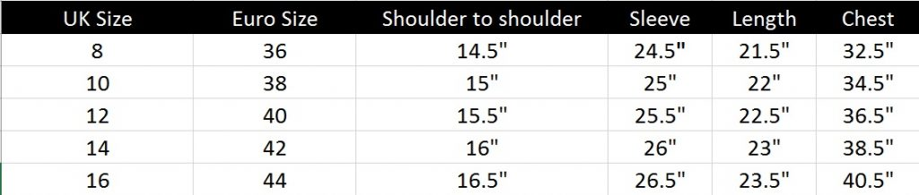 This image shows the sizing information for this product. If you need any assistance with sizing please contact us at hello@barneysoriginals.com