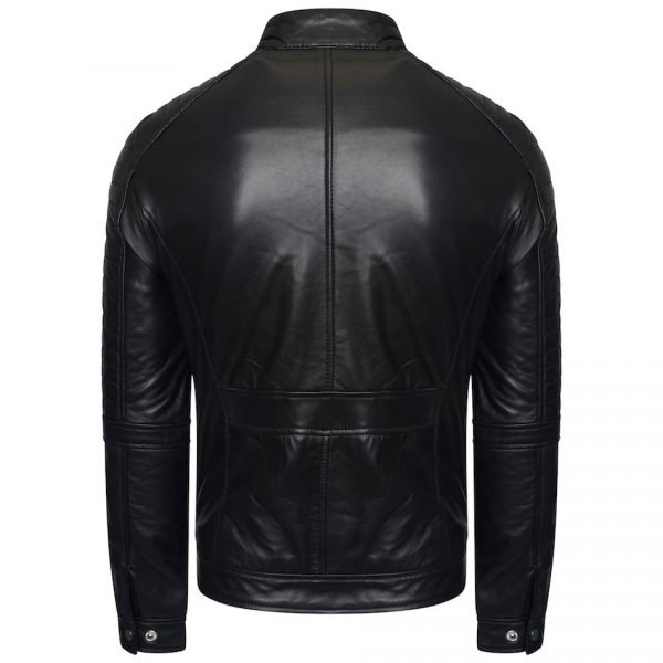 This image shows a Barneys Originals Men's Real Leather Biker Jacket with a Buckle Collar and Padded Detailing. This image focuses on the back of the jacket.