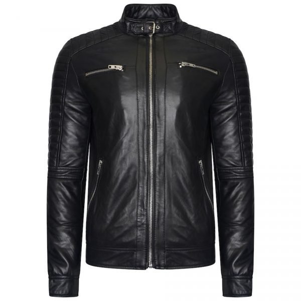 This image shows a Barneys Originals Men's Real Leather Biker Jacket with a Buckle Collar and Padded Detailing