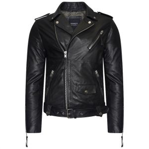 This image shows a Barneys Originals Men's Real Leather Asymmetric Biker Jacket with Waist Belt.
