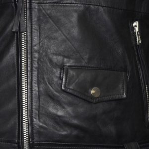 This image shows a Barneys Originals Men's Real Leather Asymmetric Biker Jacket with Waist Belt. This image focuses on the pop clasp pocket on the front of the jacket.