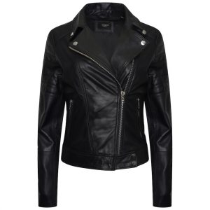 This image shows a full shot of the jacket from the front. It is made of black real leather and features silver accents such as pop studs and zips.
