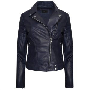 The image displays a front shot of the blue leather jacket zipped up half way. You can see the colour of the jacket and silver trimmings. It is also possible to see the blue lining of the jacket.