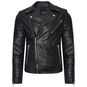 This image shows a Barneys Originals Men's Asymmetric Biker with ribbed Panelling.