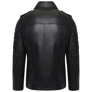 This image shows a Barneys Originals Men's Asymmetric Biker with ribbed Panelling. This image focuses on the back of the jacekt.