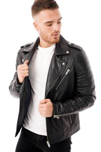 This image shows a Barneys Originals men's black leather biker jacket being worn by our model. In this image, the model has the jacket open.