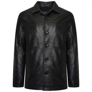 This image displays a full length shot of the men's real leather jacket and clearly displays the five buttons to fasten the jacket.