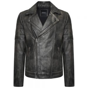 This image shows a Barneys Originals Men's Washed Grey Real Leather Asymmetric Biker.
