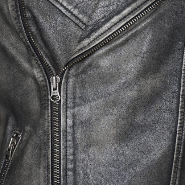 This image shows a Barneys Originals Men's Washed Grey Real Leather Asymmetric Biker. This image focuses on the collar of the jacket.