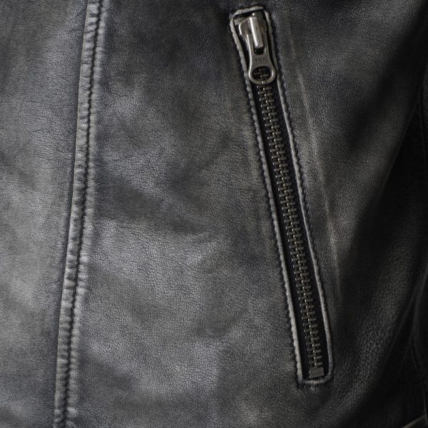 This image shows a Barneys Originals Men's Washed Grey Real Leather Asymmetric Biker. This image focuses on the zip pockets of the jacket.