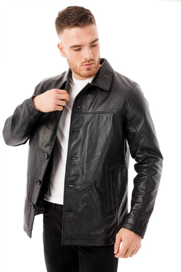 This image shows a Barneys Originals men's reefer jacket being worn by our model. In this picture, the model is wearing the jacket open.