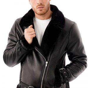 This image shows a men's Barneys Originals faux leather aviator being worn by our model. In this image the model is wearing the jacket open.
