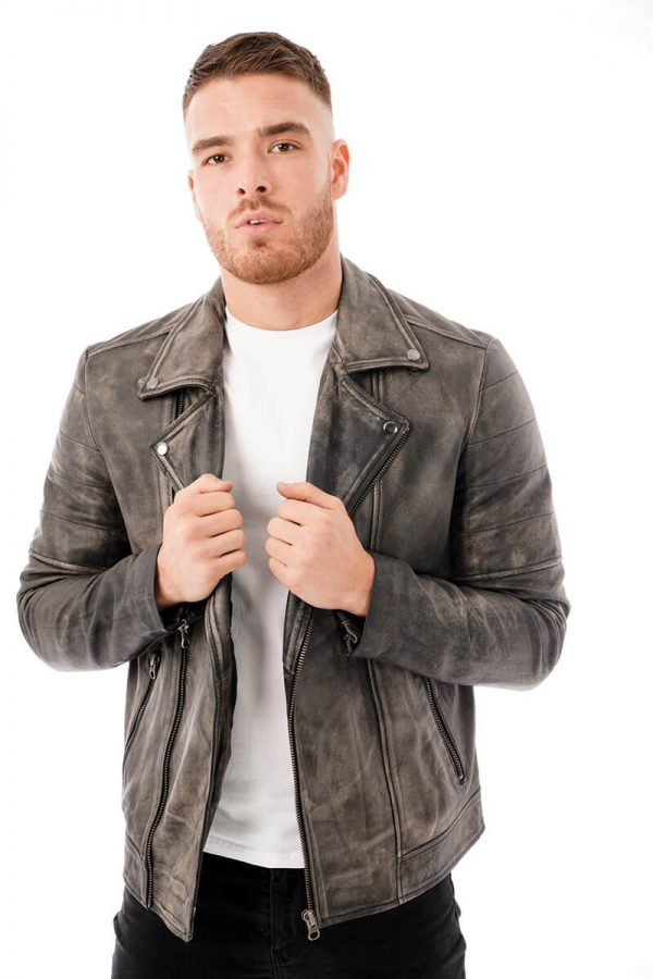This image shows a man's Barneys Originals grey washed leather jacket being worn by our model. In this picture he is wearing it open.