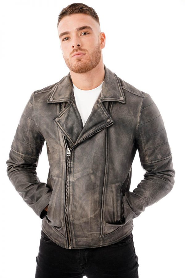 This image shows a man's Barneys Originals grey washed leather jacket being worn by our model. This image shows the jacket zipped up.