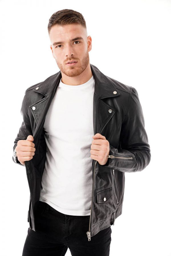 This image shows a Barneys Originals men's black leather jacket being worn by our model. In this picture the model is wearing the jacket open.
