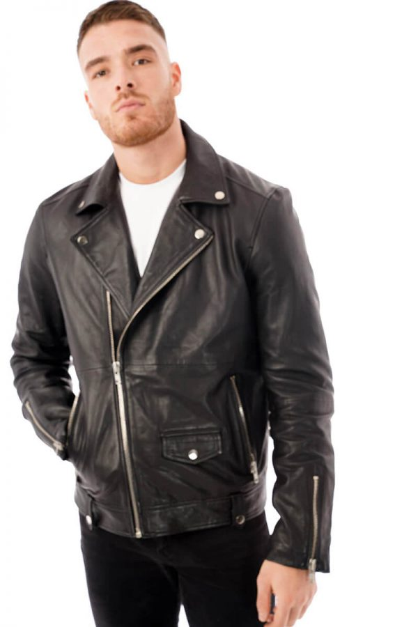 This image shows a Barneys Originals men's black leather jacket being worn by our model. In this image the jacket is zipped to the top.
