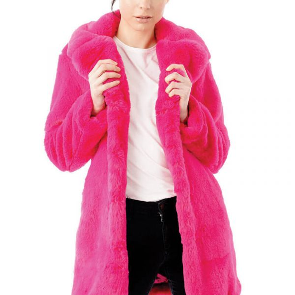 Image displays the pink faux fur coat worn by a model for the potential customer to see the full length of the coat. The model is wearing a size 8 jacket and is 5ft 8.