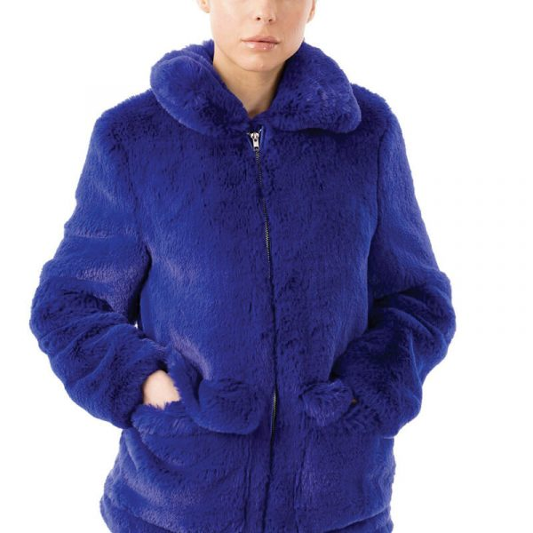 Image displays the royal blue faux fur coat worn by a model and fully zipped up to show what the jacket looks like closed
